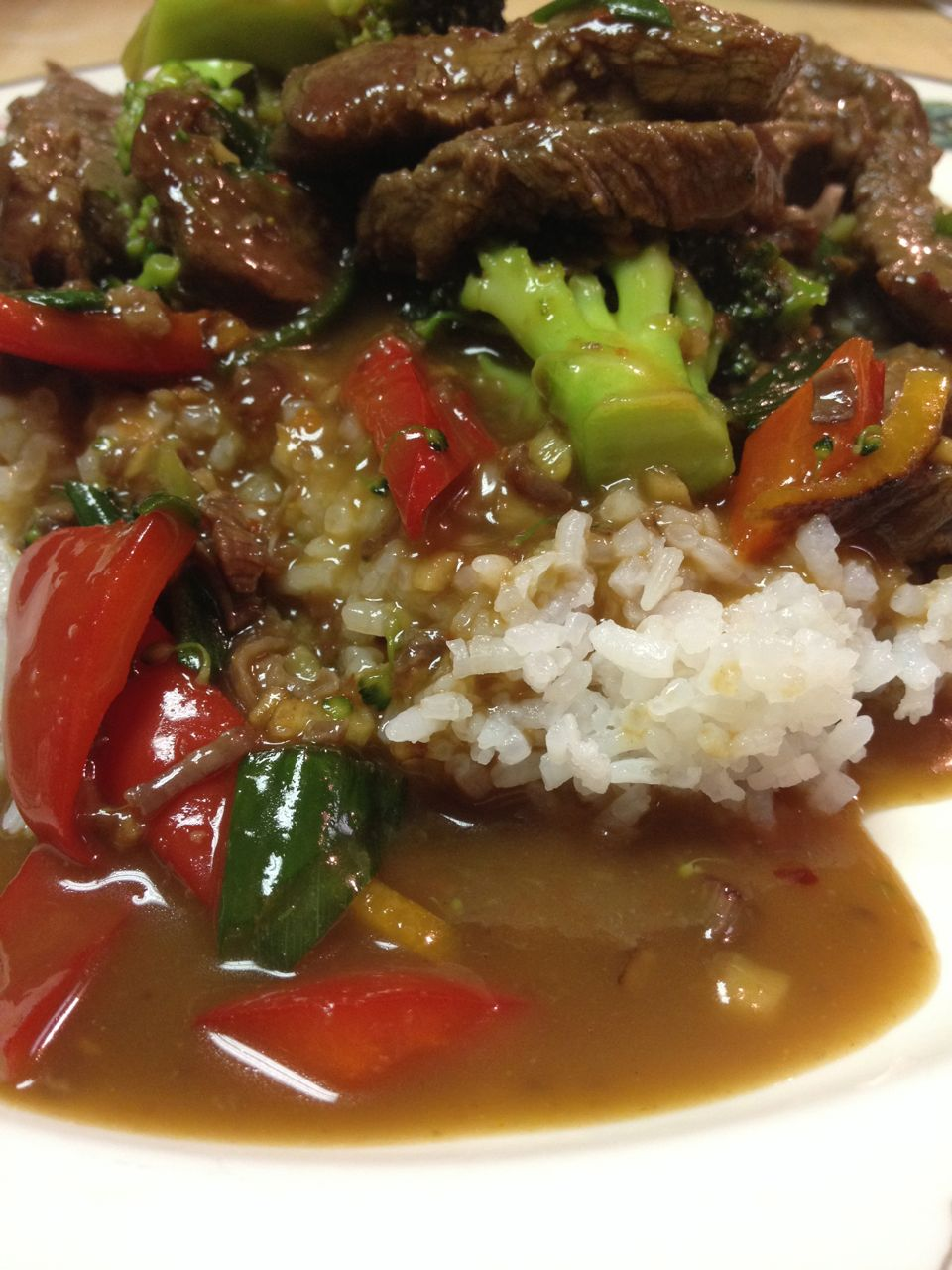 Spicy Tangerine Beef and Vegetables over Sticky Rice