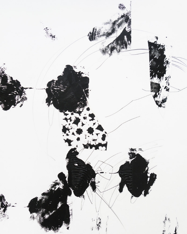 Untitled , 2016 Acrylic, ink and pencil on paper 9 x 24 inches