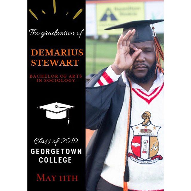Congratulations to Brother Demarius Stewart for graduating from Georgetown College Alpha Upsilon Spring 18 Sociology
