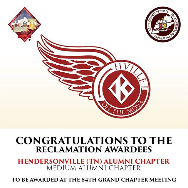 Congratulations to our Brothers of the Hendersonville (TN) Alumni Chapter for being awarded the Reclamation Award in the medium category for percentage!♦️👌🏿 They will be awarded at this year's 84th Grand Chapter Meeting in Philadelphia, PA.