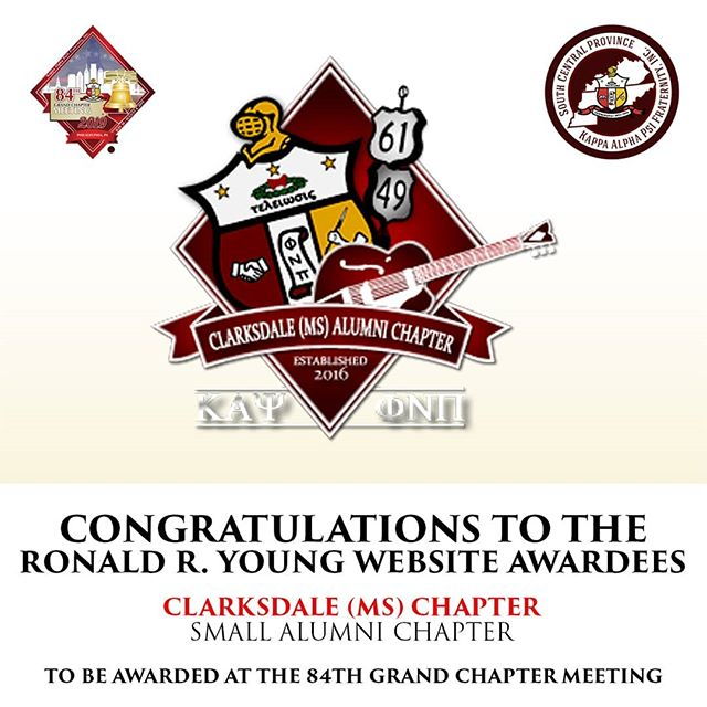 Congratulations to our Brothers of the Clarksdale (MS) Alumni Chapter for being awarded the Ronald R. Young Award for Small Chapter Website of the Year!♦️👌🏿 They will be awarded at this year's 84th Grand Chapter Meeting in Philadelphia, PA.