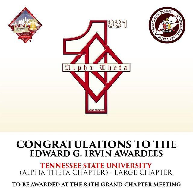 Congratulations to our Brothers of the Alpha Theta Chapter at Tennessee State University for being awarded the Edward G. Irvin Award for Undergraduate Chapter of the Year in the large category 3 YEARS IN A ROW!!!👌🏿👌🏿👌🏿 They will be awarded at this year's 84th Grand Chapter Meeting in Philadelphia, PA.