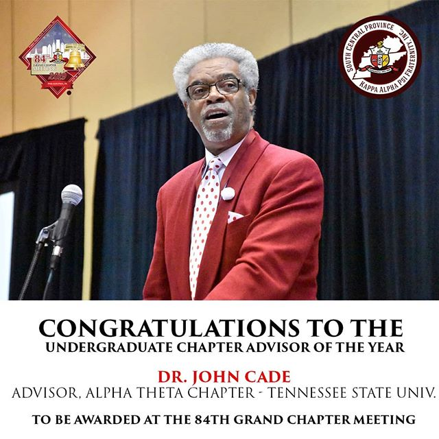 Congratulations to our Brother Dr. John Cade for being awarded the Undergraduate Chapter of the Year Award as Advisor of the Tennessee State University Alpha Theta Chapter!!♦️👌🏿 He will be awarded at this year's 84th Grand Chapter Meeting in Philadelphia, PA.