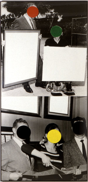 """Above: """"Cutting Ribbon, Man in Wheelchair, Paintings (Version #2), 1988"""". Source:  NPR"""