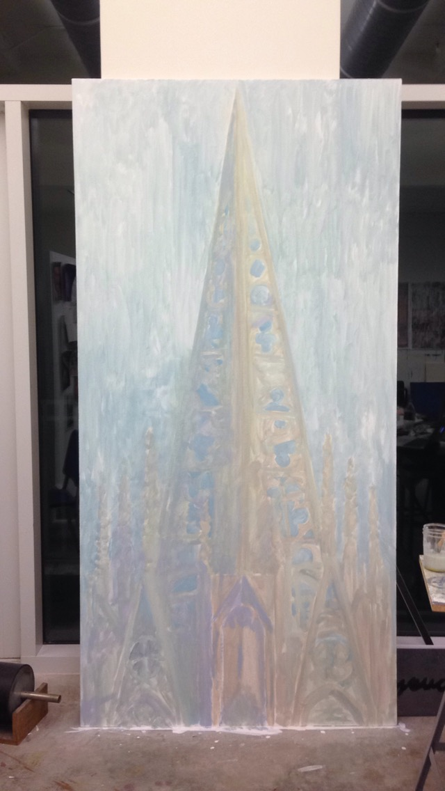 Spire.  Oil on canvas stretched over plywood, 8'x4'.