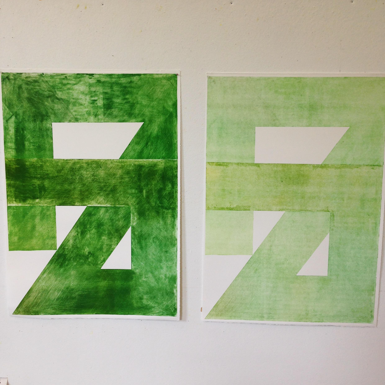 "Symbols II and Symbol III, Monotypes, 41""x29""."