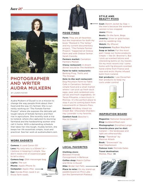 "425 Magazine November/December ""love it!"" featured Audra Mulkern"