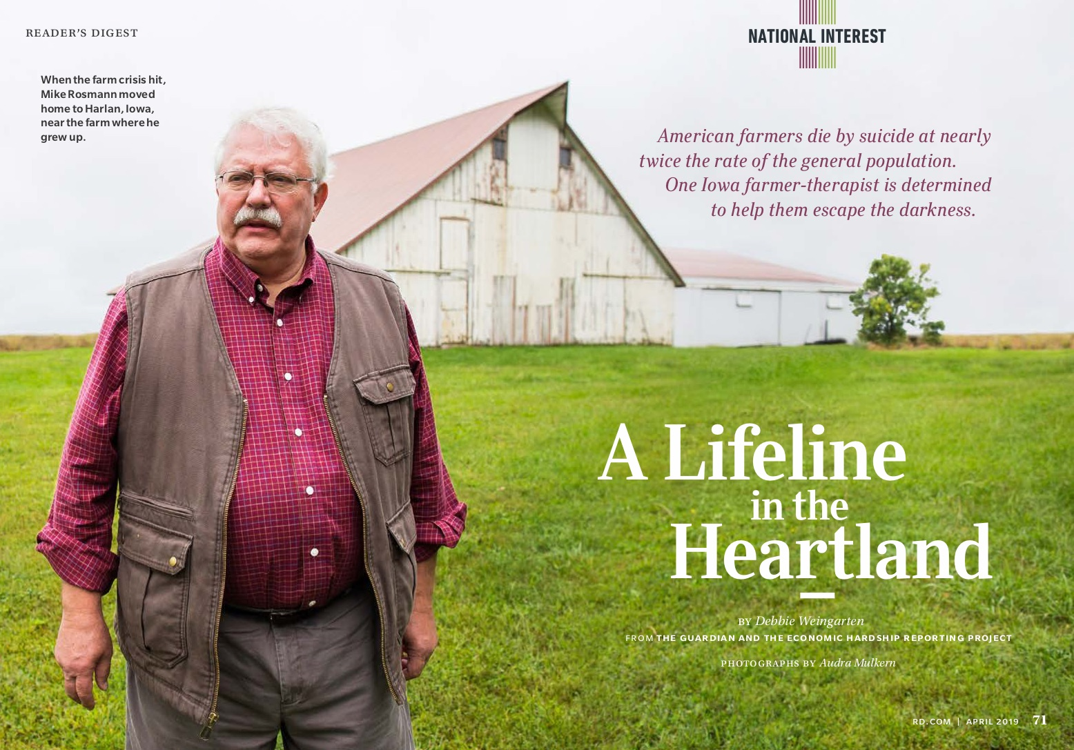 American Farmers Die by Suicide at Nearly Twice the Rate of the General Population—Here's How One Therapist Is Changing That Statistic - Readers Digest, April 2019