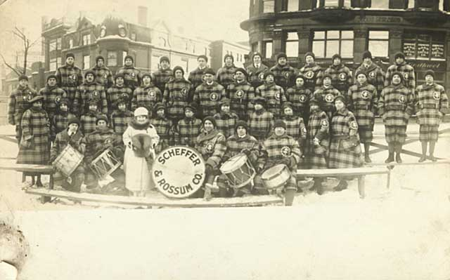 1917 Scheffer & Rossum Company marching unit, St. Paul Winter Carnival parade Lowertown.jpg