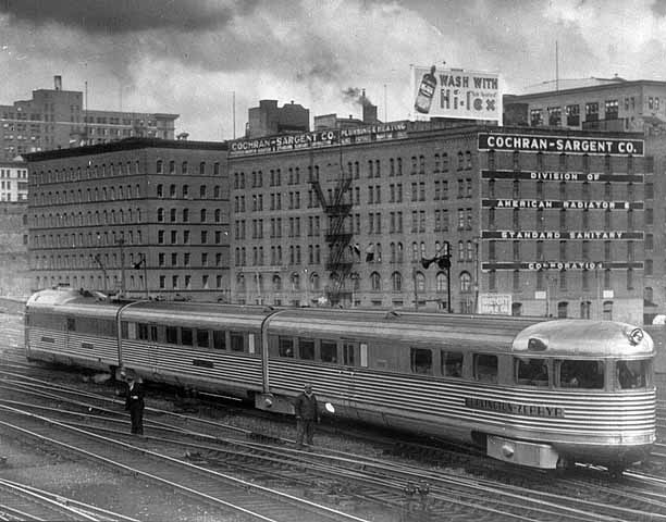 1935 Burlington Zephyr train at Union Depot main yards Lowertown.jpg