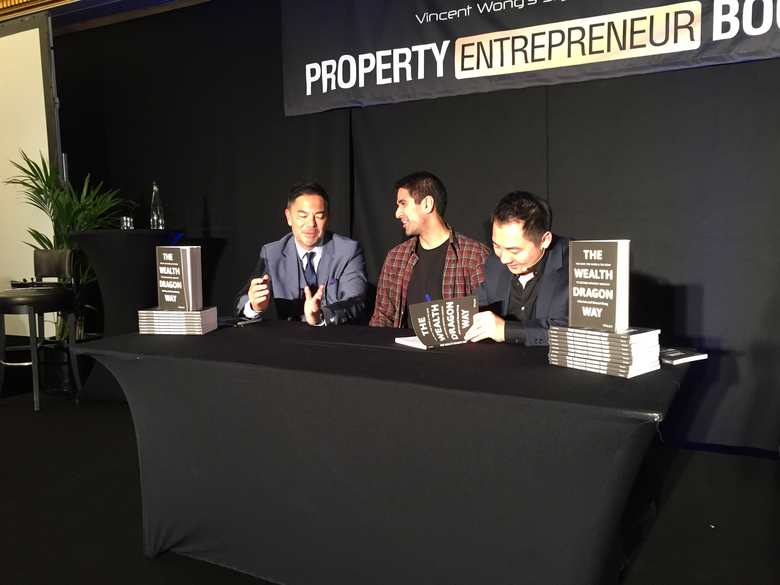 Me with the Wealth Dragons: Vincent Wong (left) and John Lee (right).