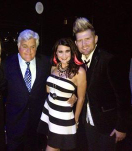 Josh and Shannon of The Sound Collage backstage with Jay Leno after opening for him at The Mirage Hotel and Casino, Las Vegas.