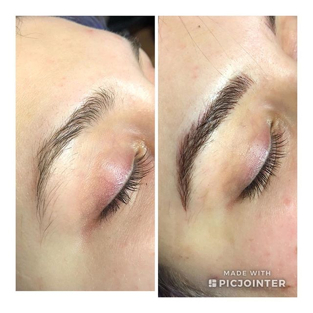 Another before and after on the beautiful @sleepykailey.  Thanks for your trust, can't wait til next time!  #microblading #pma #tattooedbrows #cosmetictattooing #cosmetictattoo #wakeupandgo #ontherunbrows #wakeupready #carefreebrows #tattoo #pmuartist #supportlocal #shoplocal #mchenrycounty #smallbusiness