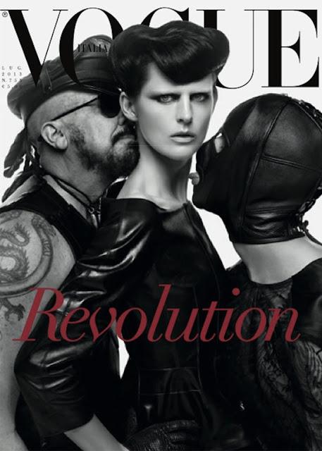 Peter Marino i modelka Stella Tenant na okładce włoskiej edycji Vogue'a na 25-lecie magazynu