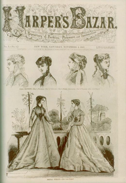 Pierwsza okładka Harper's Bazaar; 2. listopada 1867 r.