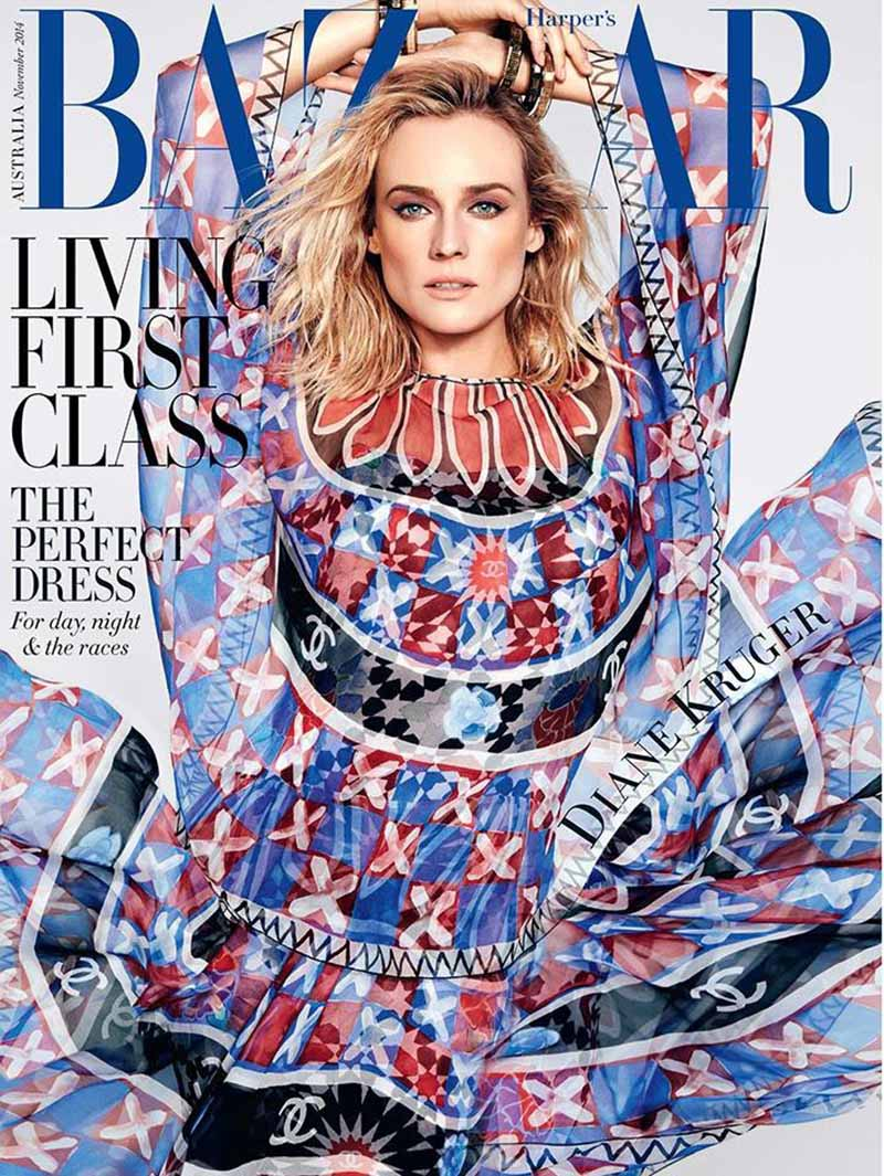 Diane Kruger na okładce Harper's Bazaar w sukience w stylu boho chic