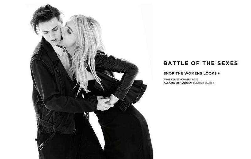 """Erika Linder jako mężczyzna i Andrej Pejic jako kobieta w sesji """"Battle of the sexes"""""""