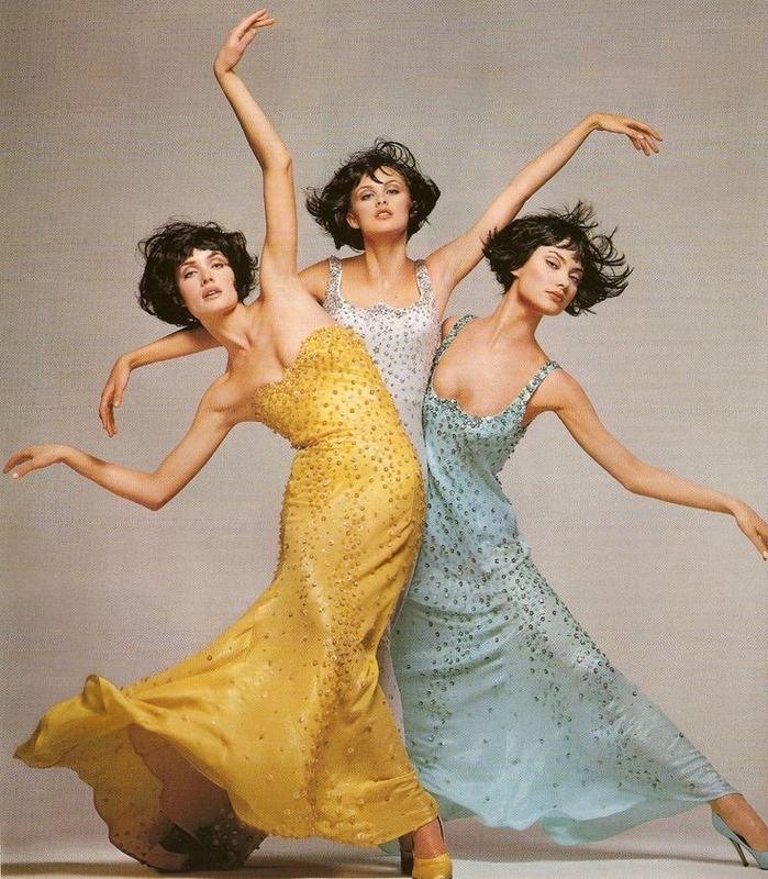 Shalom Harlow, Amber Valletta, Trish Goff w kampani Versace 1995/fot. Richard Avedon