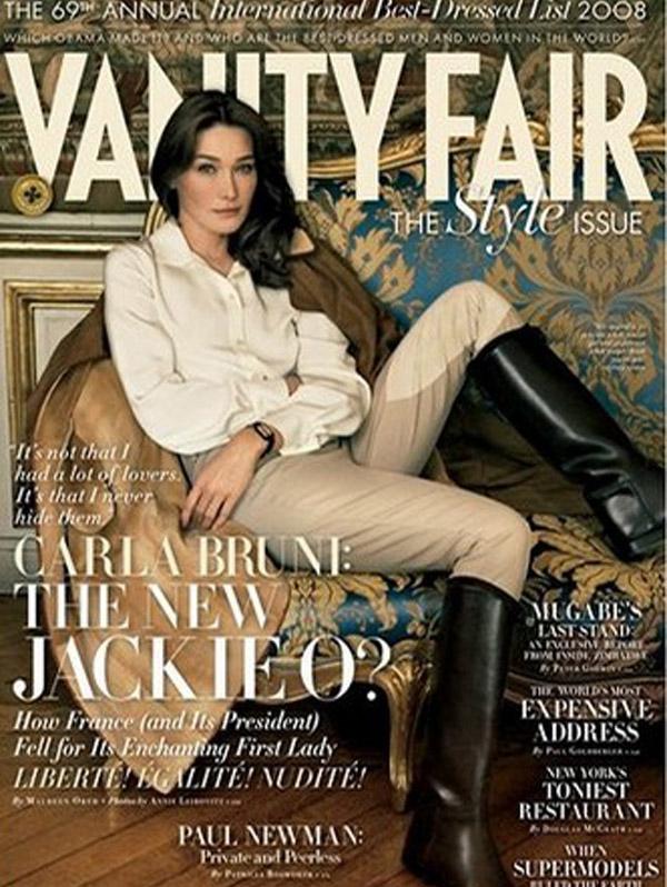 Carla Bruni Sarkozy na okładce Vanity Fair - 2008 rok