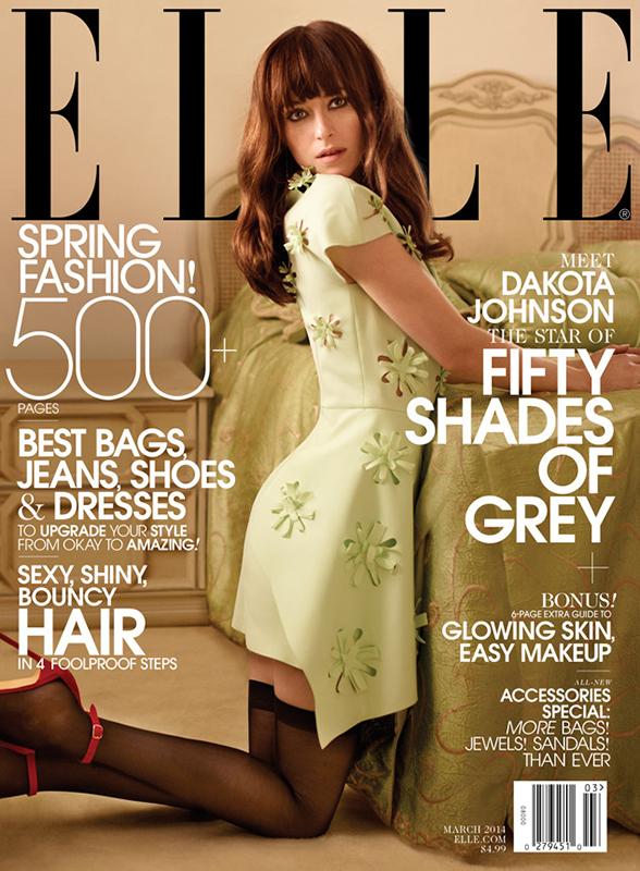 Dakota Johnson w szpilkach Blahnika na okładce Elle US