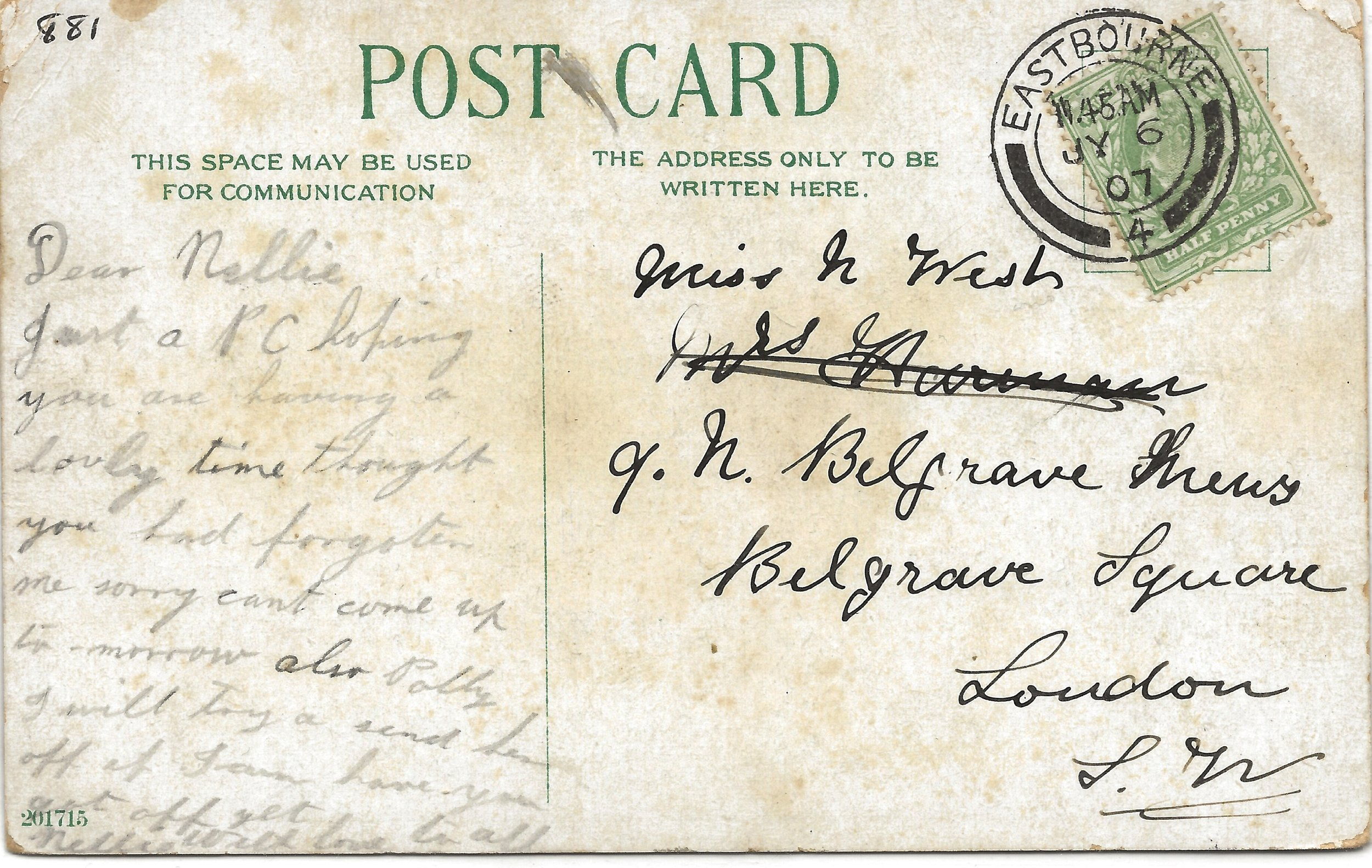 Postcard of Folkington Manor July 1907