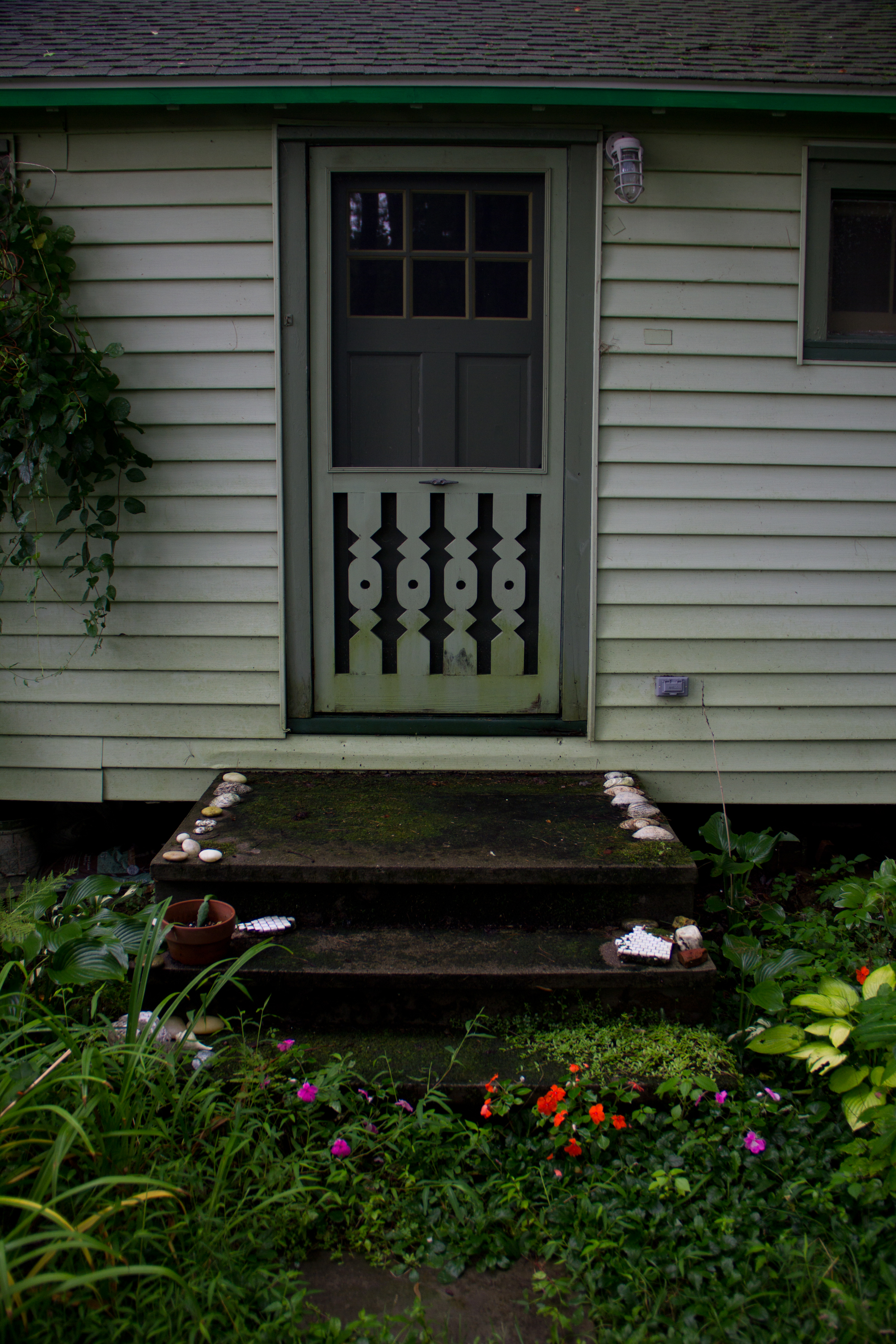 The back door with some pretty impatiens (by Sam)