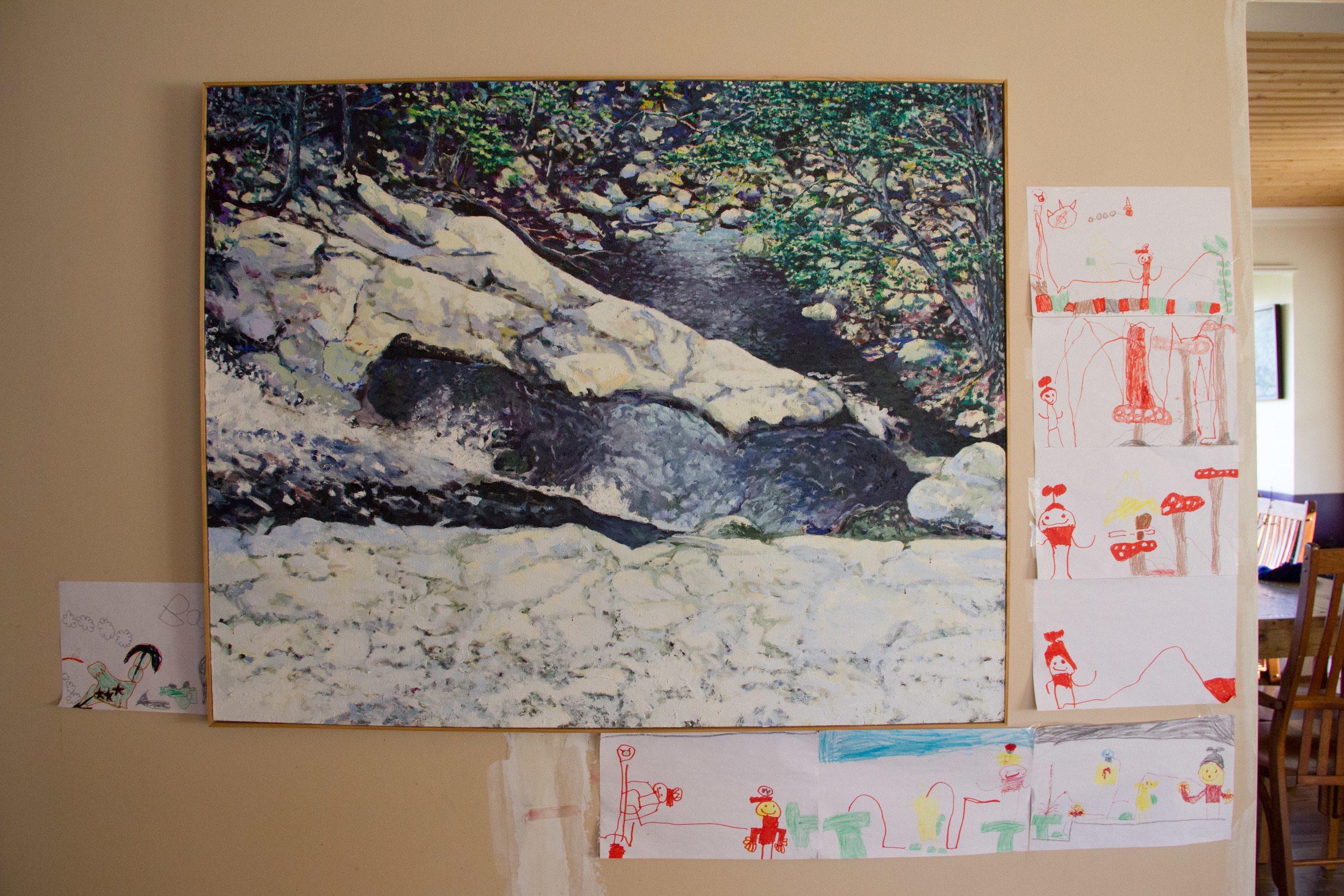 Painting by Ed Lyle (accompanying artwork by Dante, Deb and Ed's grandson)