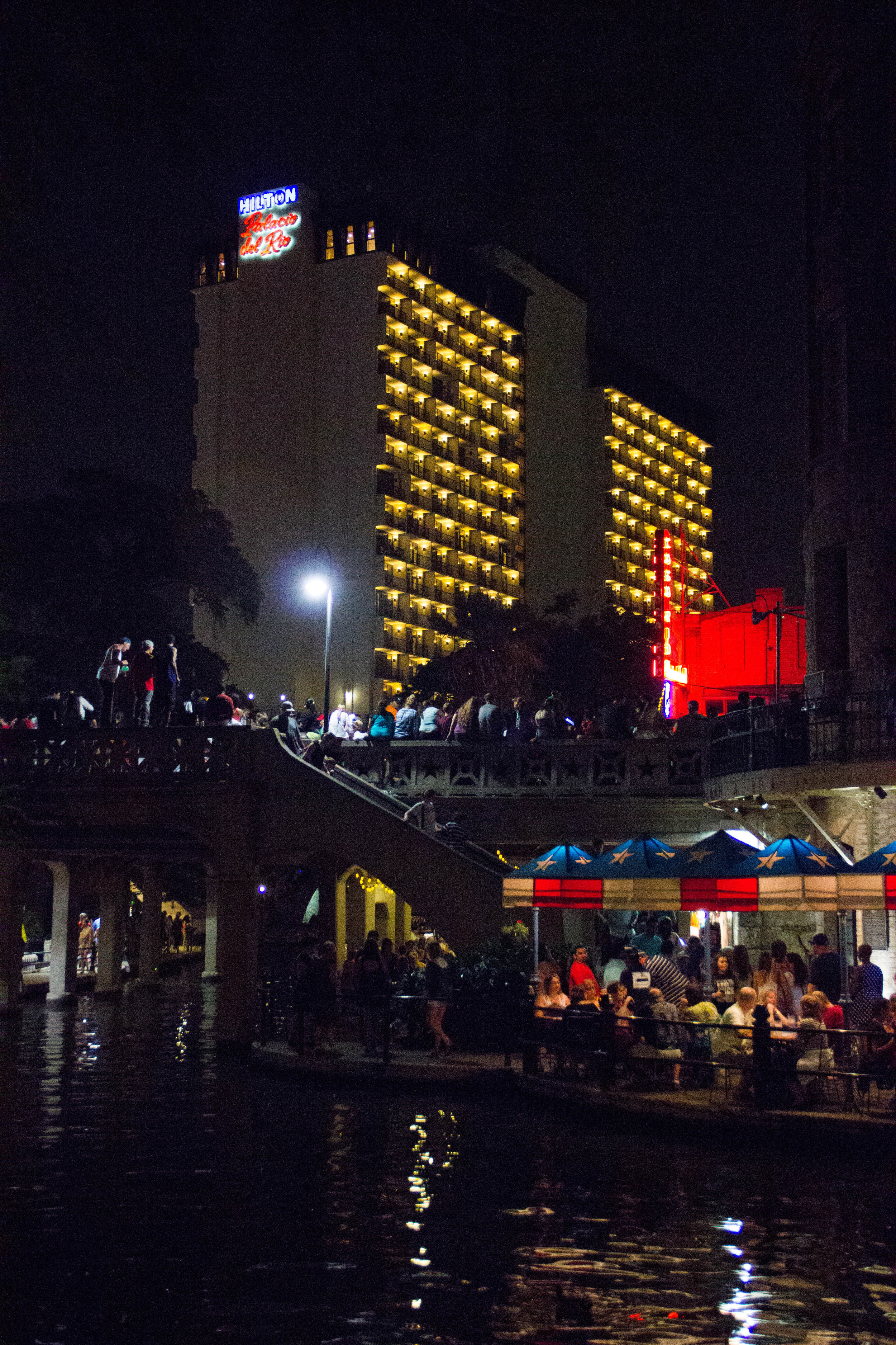 The other side of the Hilton Palacio del Rio during the parade and the dangerous underbelly lurking below