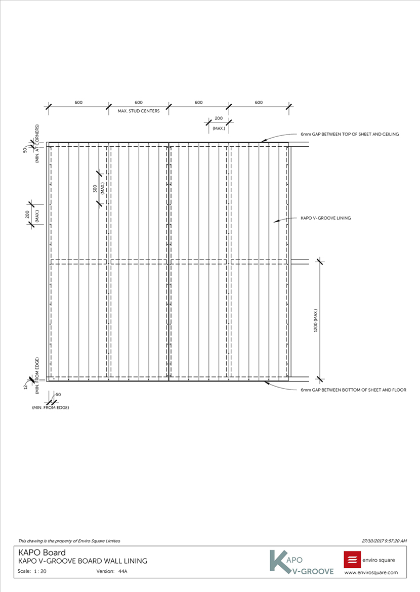 44A wall lining layout