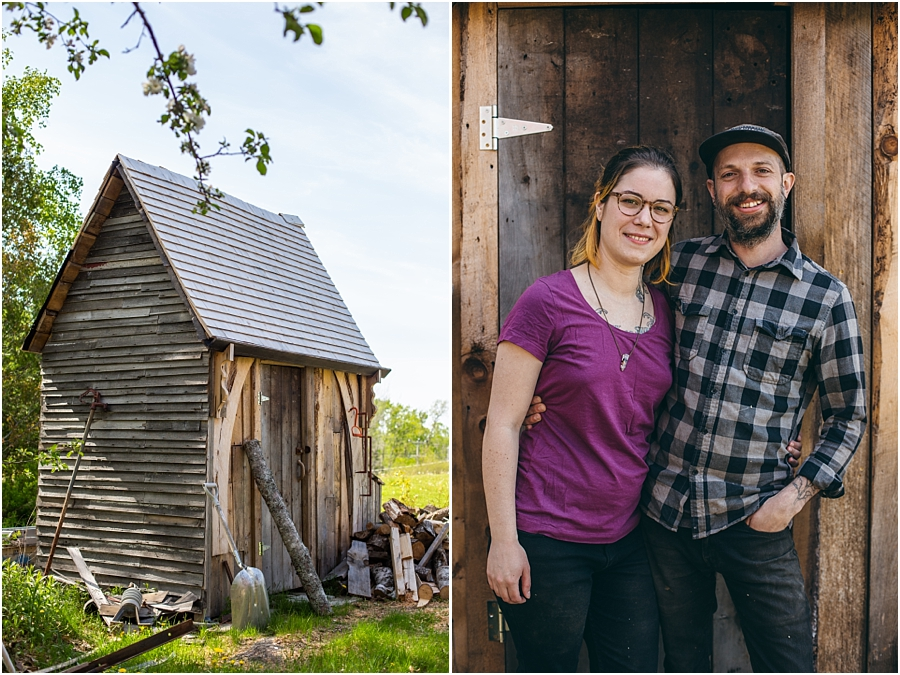 A shed built by Dierdre and Aaron and the two of them on the right.