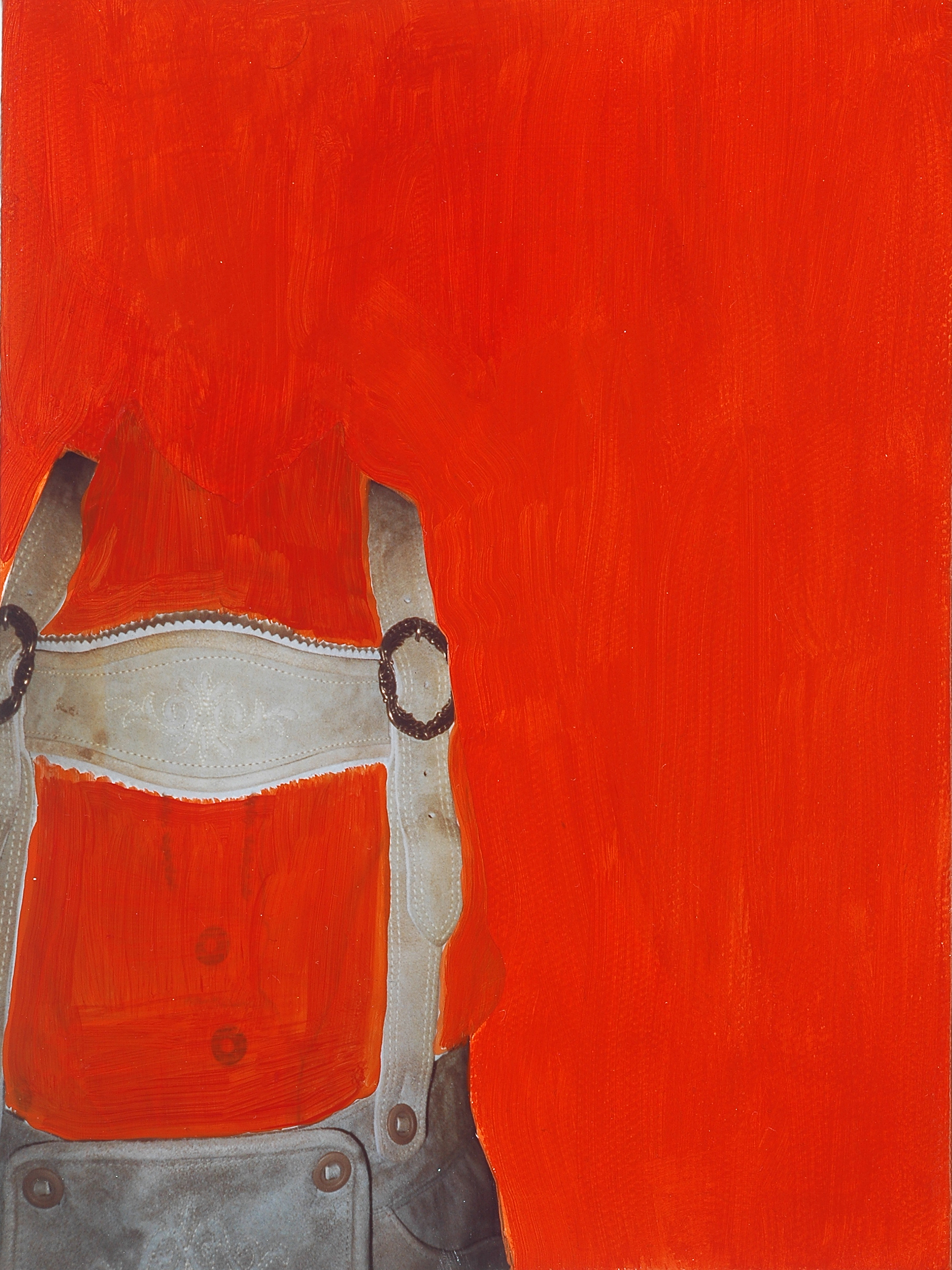 "Lederhosen. 2008. Mixed Media on Canvas. 8"" x 6"""