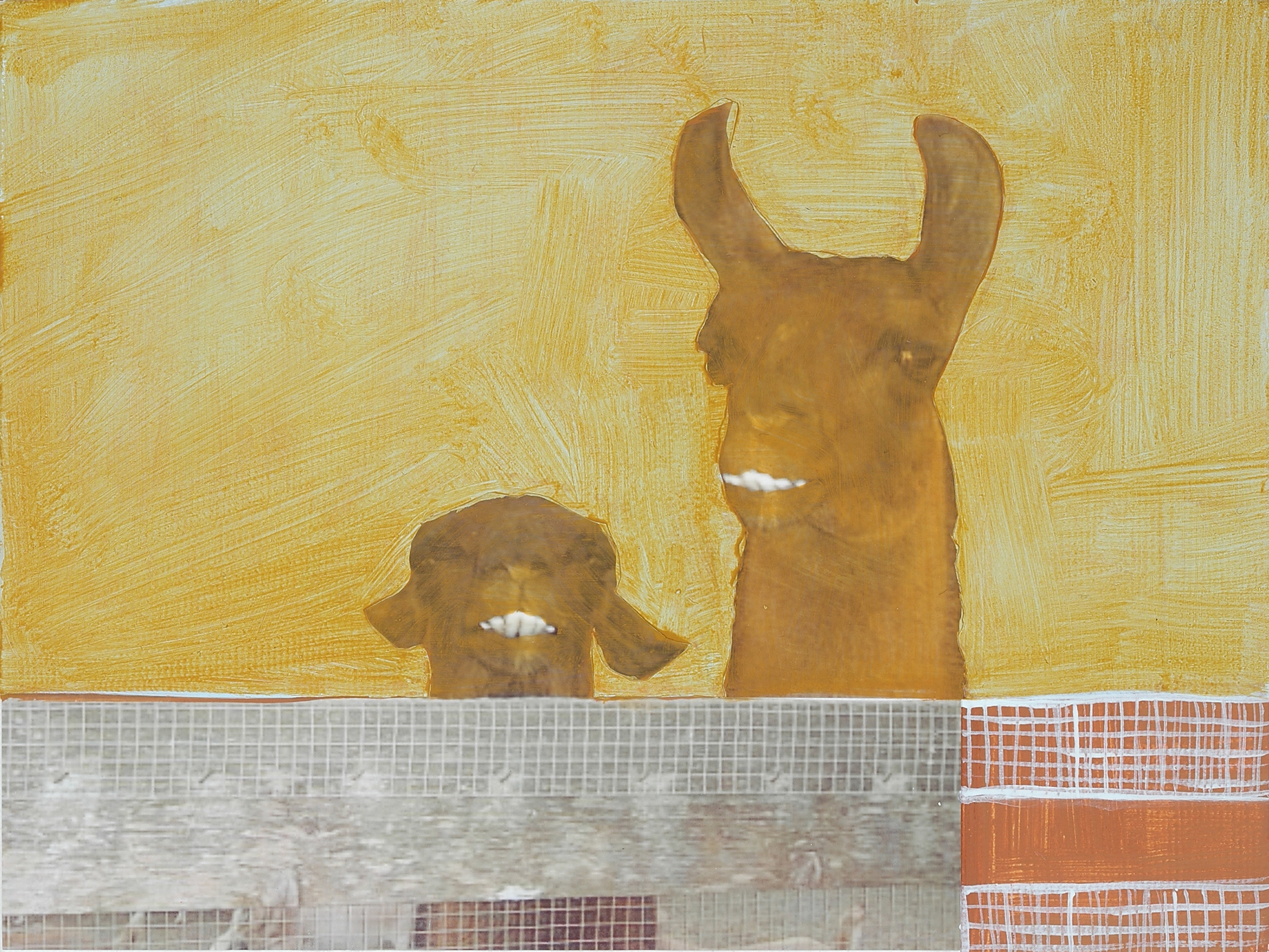 "Fred And A Friend. 2008. Mixed Media on Canvas. 6"" x 8"""