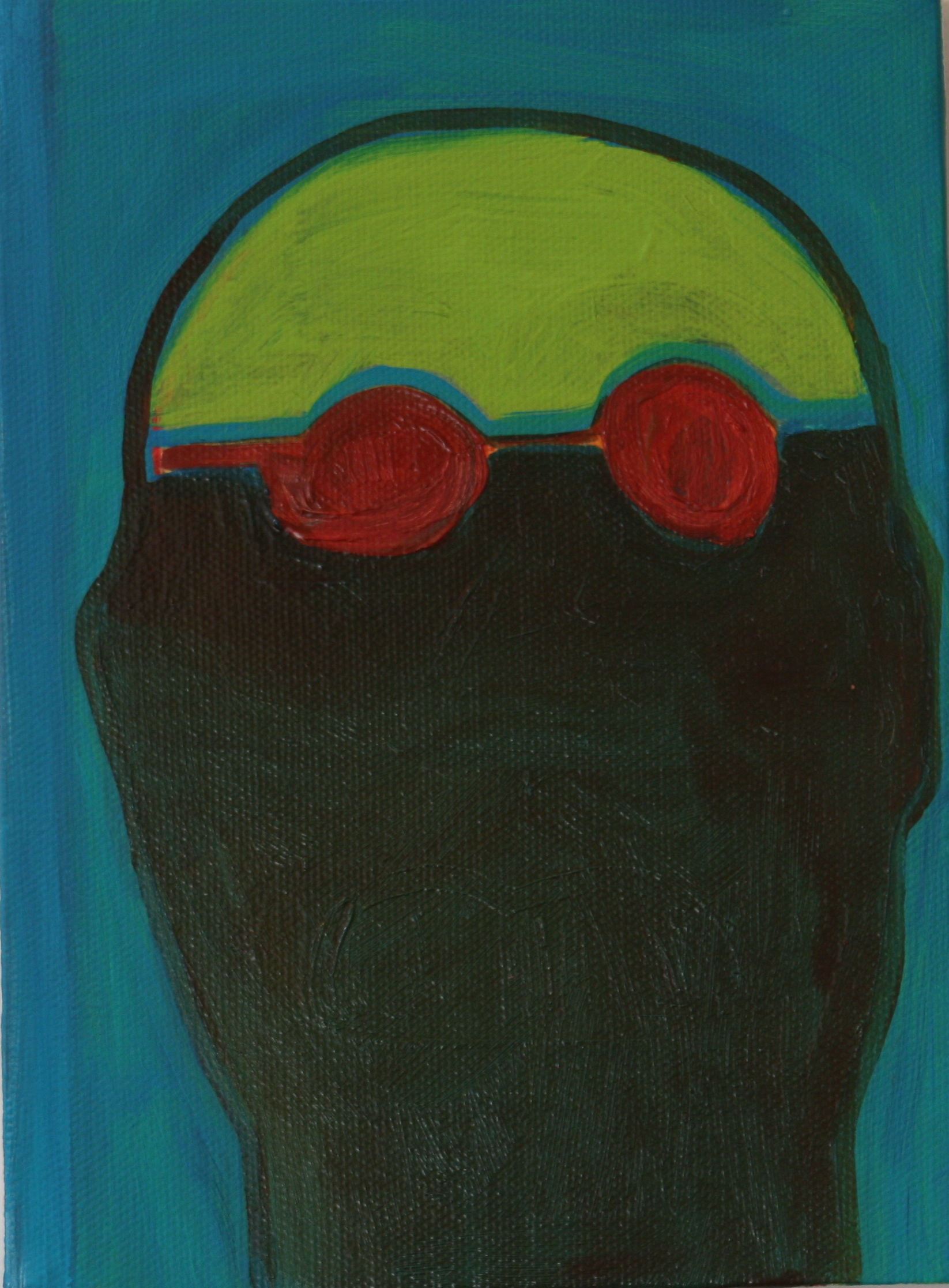 "Swimmer. 2008. Oil on Canvas. 8"" x 6"""