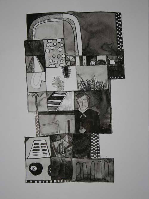 "Park. 2007. Ink on Paper. 12"" x 9"""