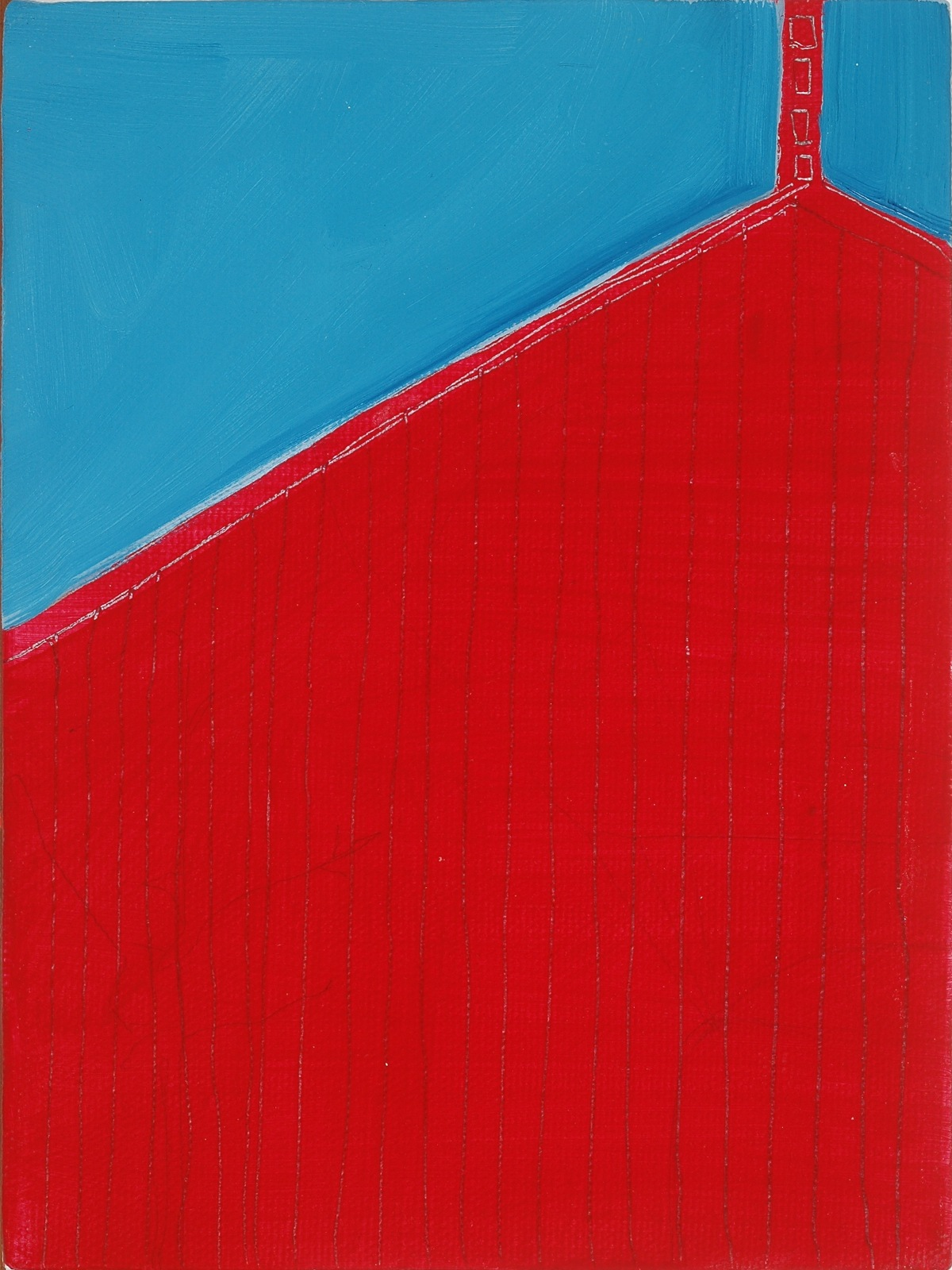 "Red Church. 2010. Acrylic on Canvas. 12"" x12"""