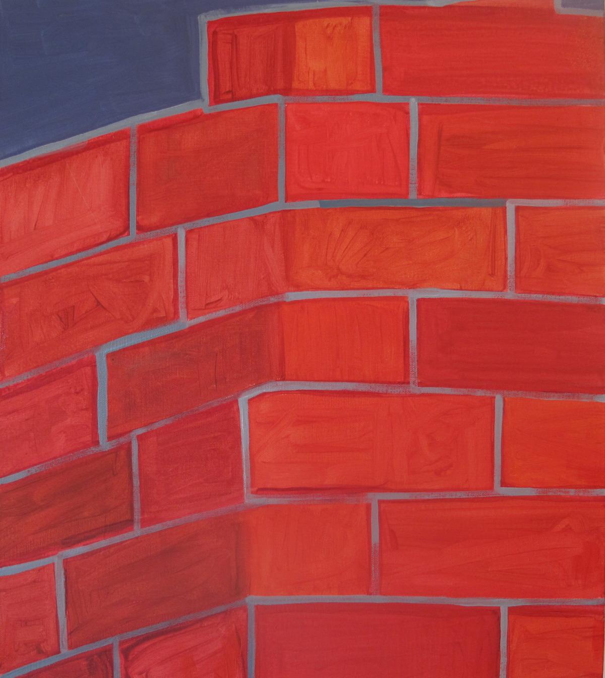 "Bricks. 2009. Oil on Canvas. 16"" x 14"""