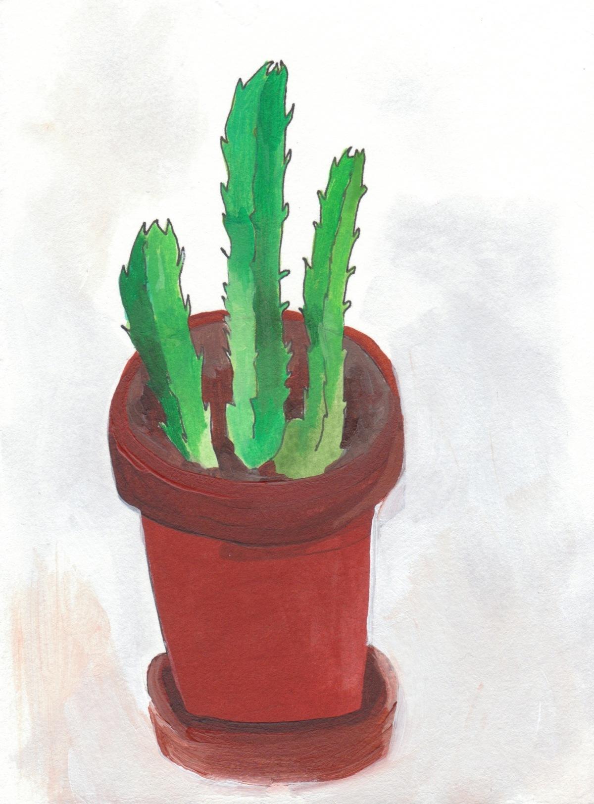 "Cactus. 2012. Acrylic on Paper. 9"" x 6"""