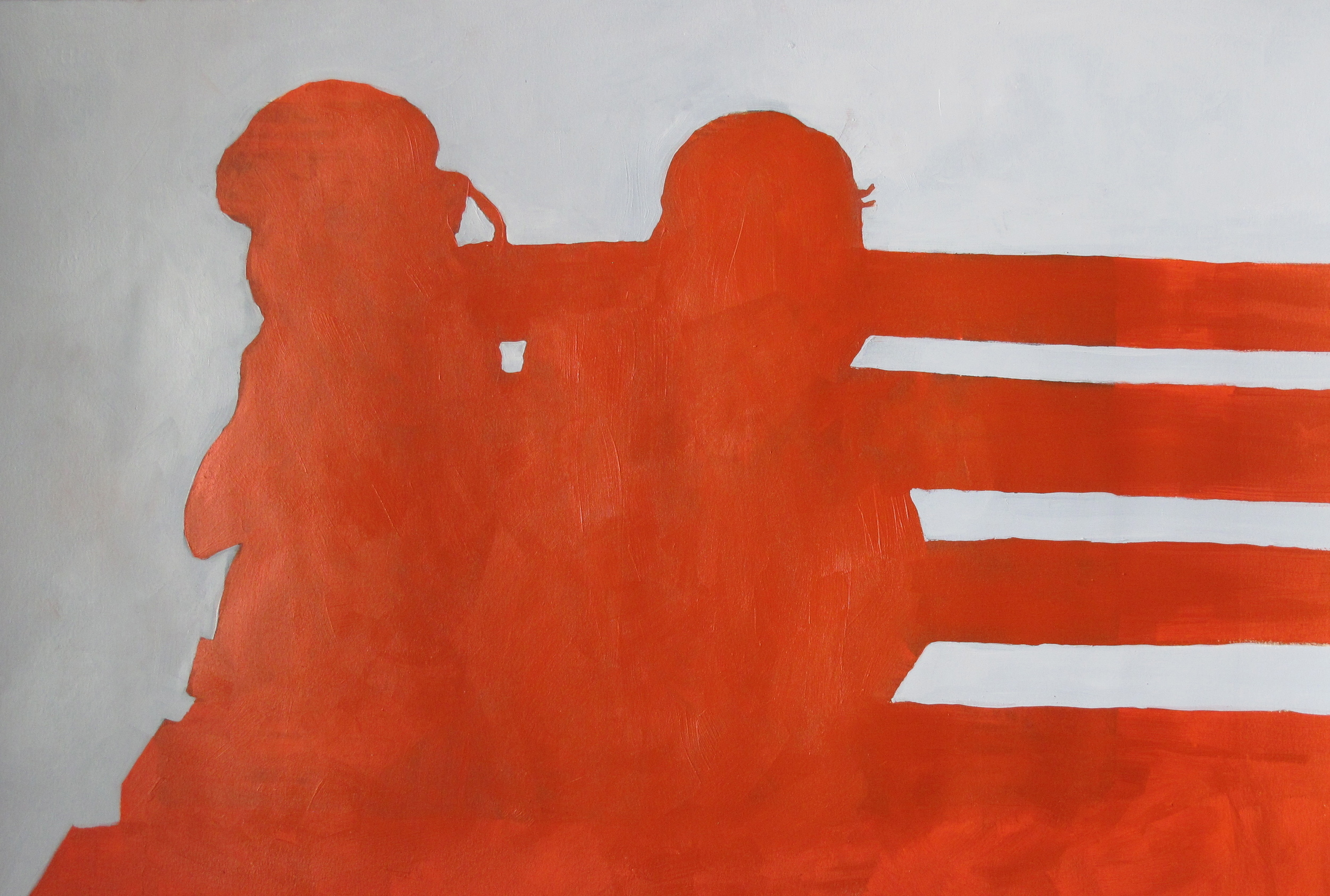 "Bench. 2013. Acrylic on Paper. 22"" x 12"""