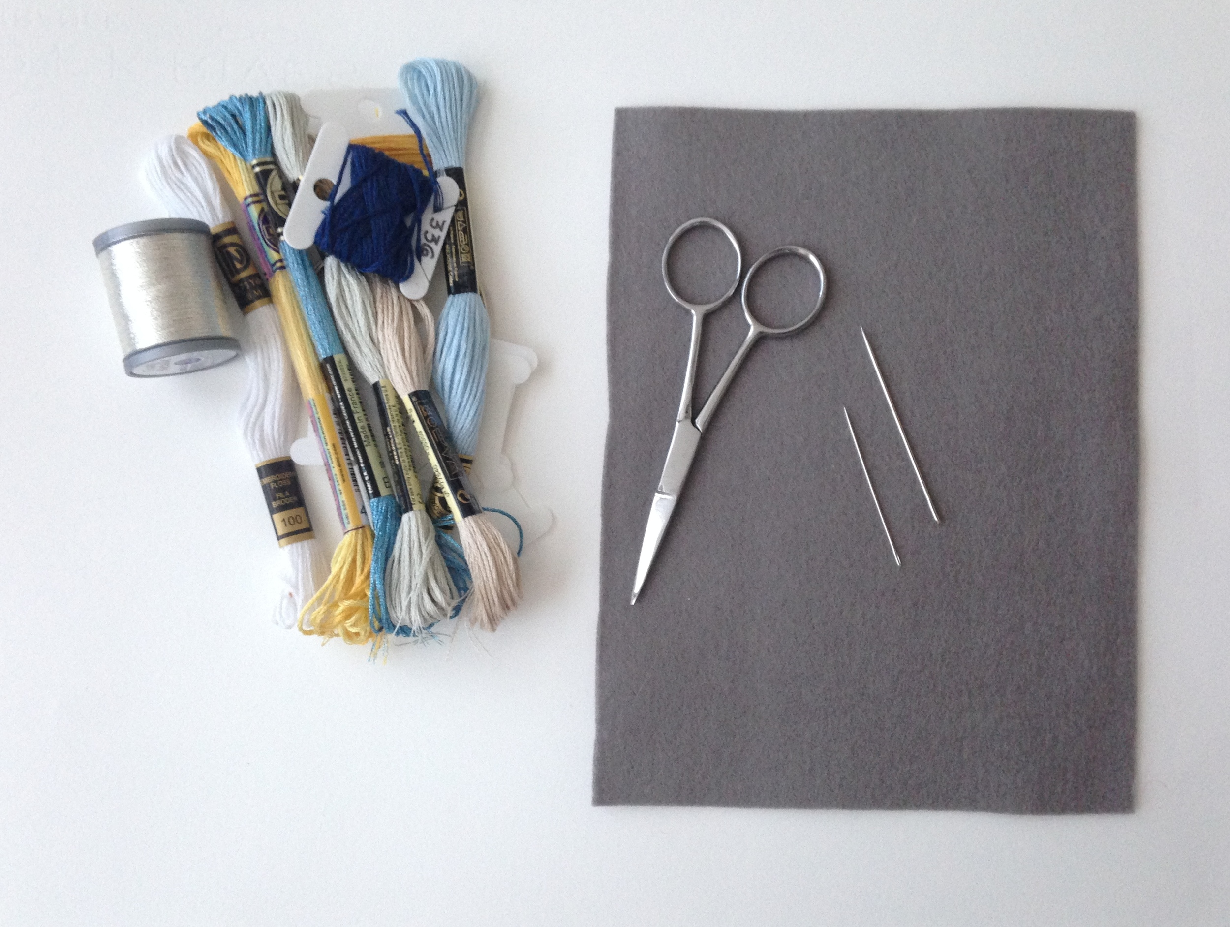 Begin collecting your materials size and thread for your stitching. I didn't actually use all these materials, but wanted them on hand just in case.