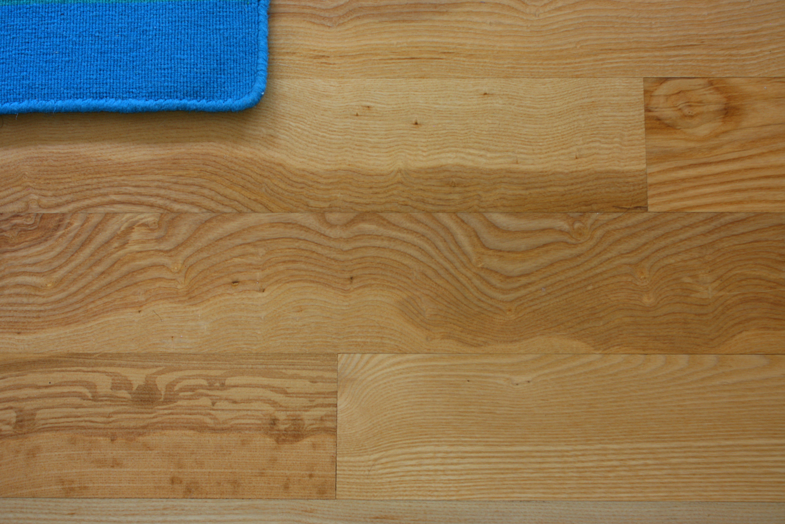 Oregon Ash's characteristic marbling is on full display in these floor boards.