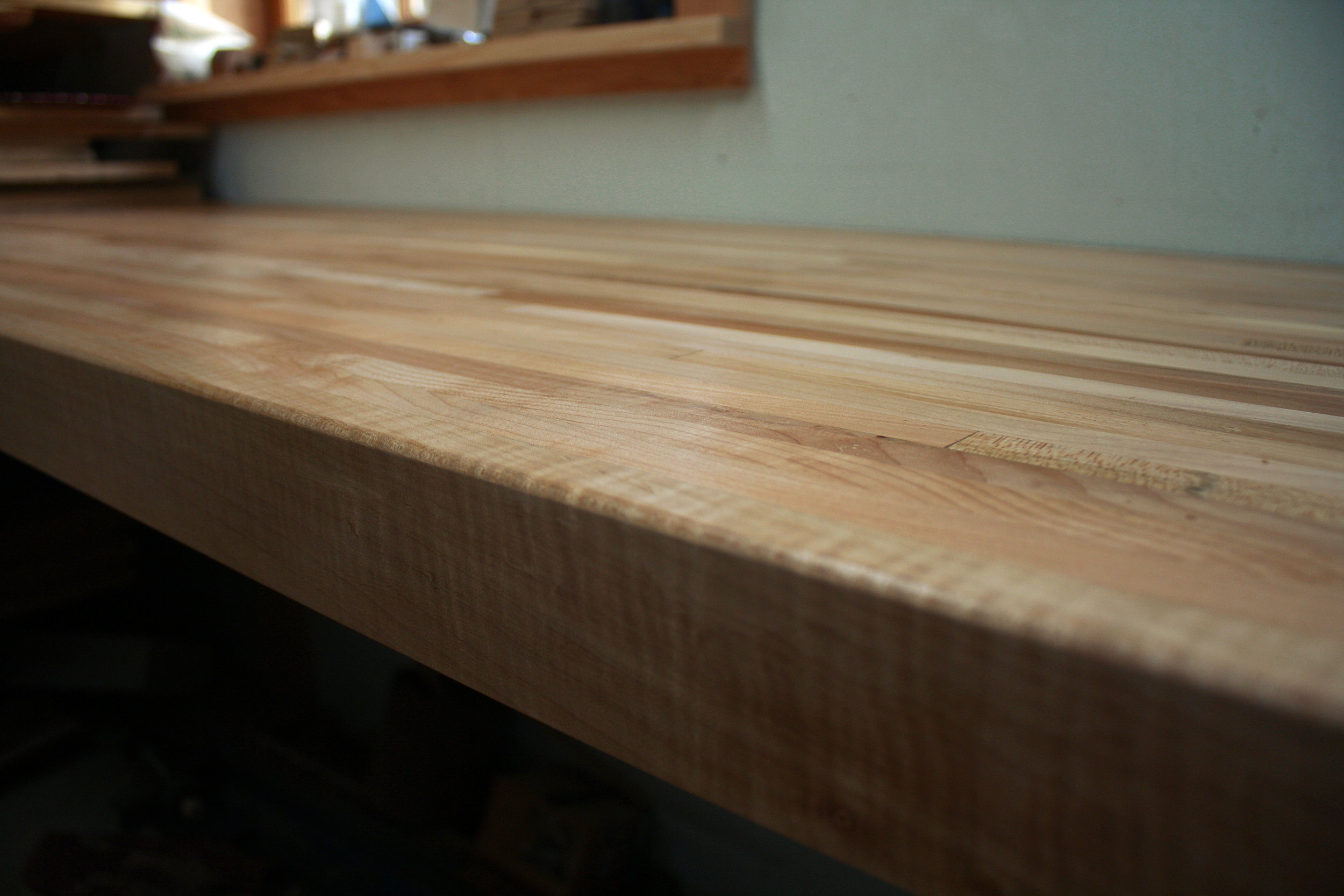 This set up is ideal for workbench tops. This top spans 12 feet, allowing for lots of storage underneath