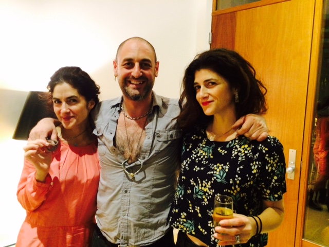 (Left: me, designer Alp Sagnak and sis Susan Naci wearing my favorite lipstick! Don't you love it on her?)