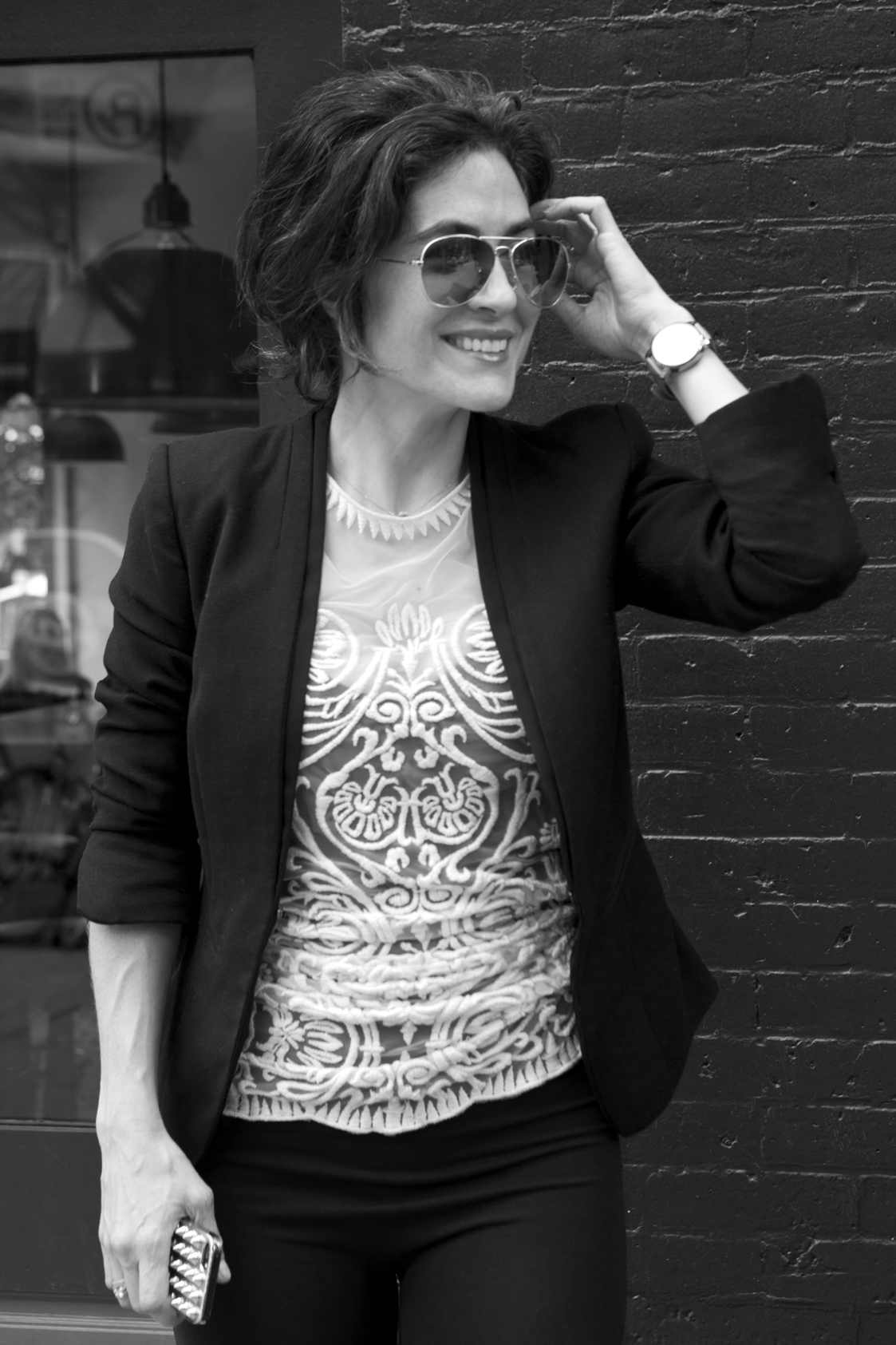 Photo credit  Anna Campanelli   Top (actual dress)  Yoana Baraschi  / Jacket  Helmut Lang  (similar  here ) / Sunglasses  Michael Kors  / Watch  MVMT