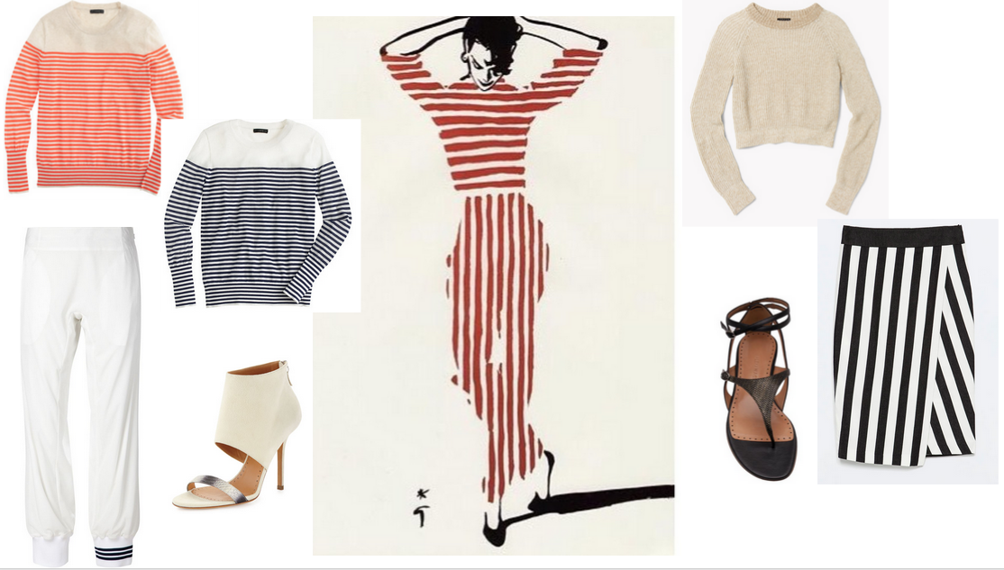 From left: Nautical Striped Sweaters  JCrew  / Jogger Pant with Contrast hem  Y-3  / Nude sandal  Alexa Wagner  / Illustrationby  Rene Gruau / Cropped RibbedSweater  Theory  / Stripe Skirt  Zara / Thong Gladiator Sandal  Alexa Wagner