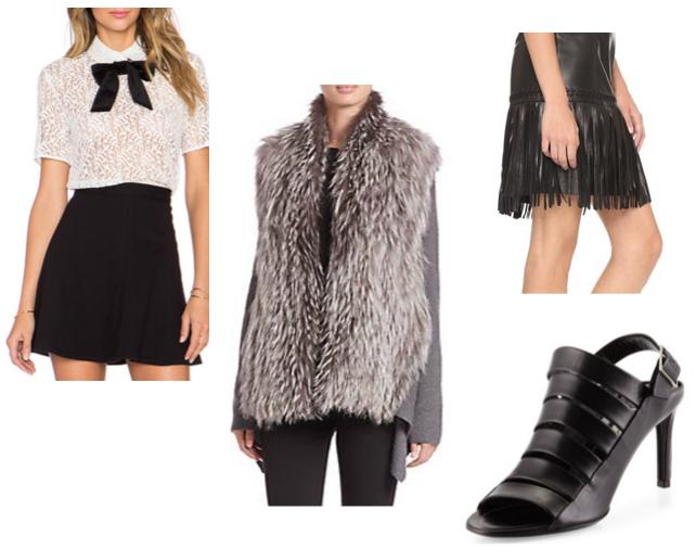 Lace Top,  The Kooples  / Fur Sweater,  Kobi Halpern / Fringe Skirt  L'Agence  / Strappy Sandal  Balenciaga