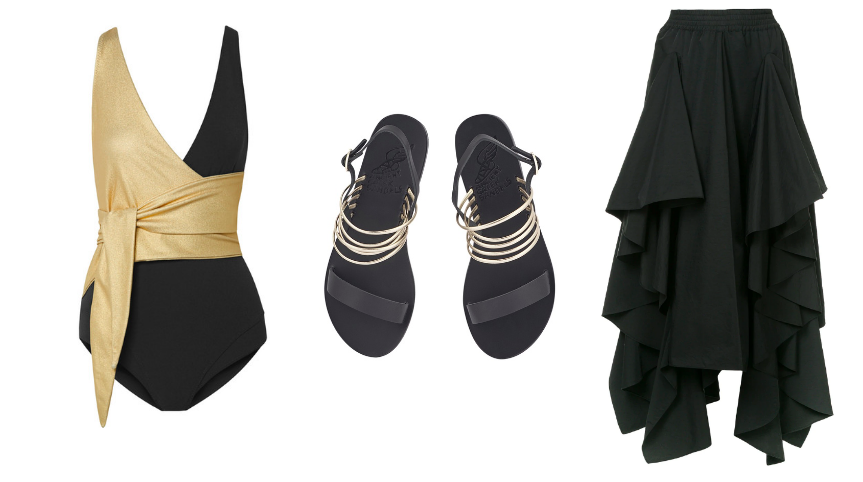 Swimsuit  Lisa Marie Fernandez  / Sandals  Ancient Greek Sandals  / Skirt  Romance was Born