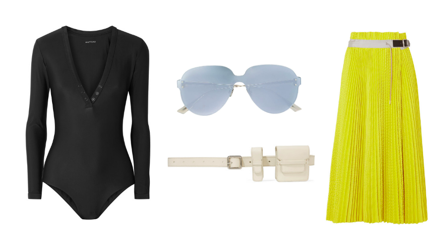 Swimsuit  Matteau  / Sunglasses  Dior  / Belt  Gabriela Hearst  / Skirt  SACAI