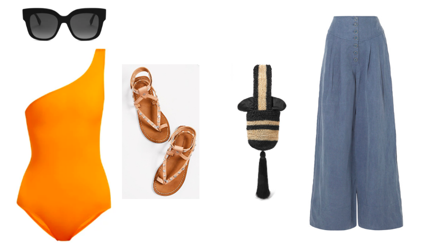 Swimsuit  Talia Collins  / Sunnies  Fendi  / Sandals  Isabel Marant  / Bag  Johanna Ortiz  / Wide Leg Pants  Ulla Johnson