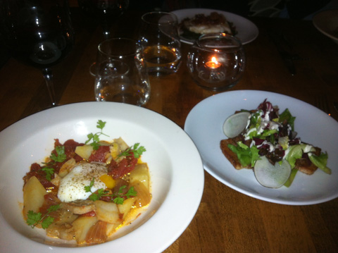 Salt Cod with stewed tomatoes & Pork belly with local radish