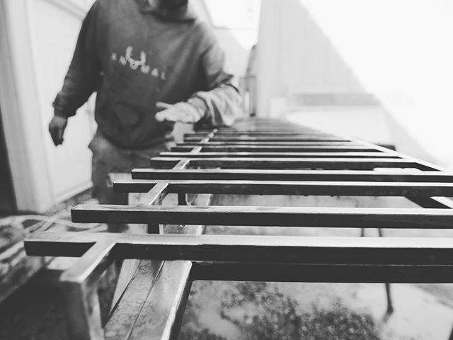 Steel glass rack in process.